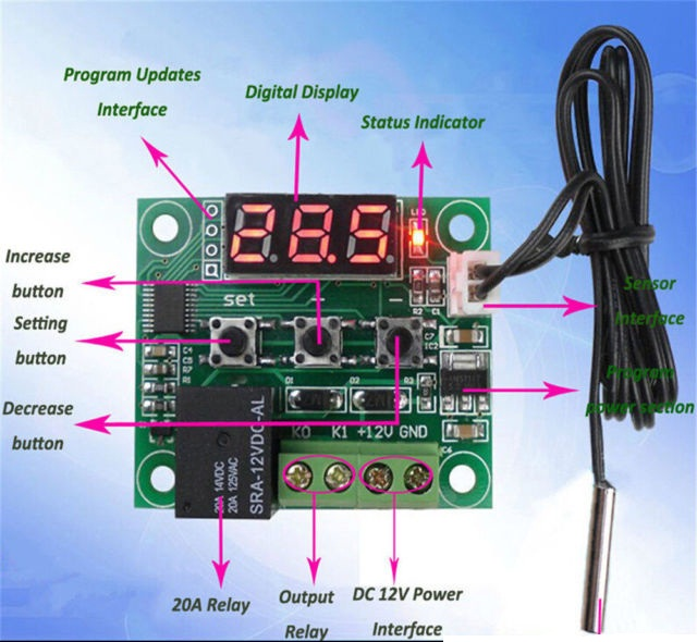 12V DIGITAL LED THERMOSTAT TEMPERATURE RELAY CONTROL MODULE